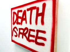 """DEATH IS FREE Red"" Original Wooden Canvas (2020) (INCLUDES SPECIAL GIFT.)"