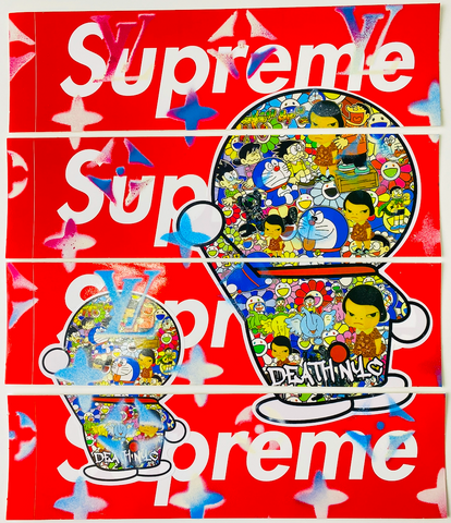 "Set of 4 ORIGINAL SUPREME STICKER ART ""BYE BYE"" (2020) Edition of 1"