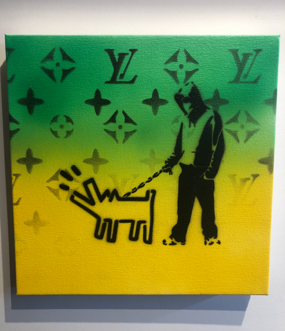 """Walking Haring's Dog"" Original Canvas (8"" x 8"")"