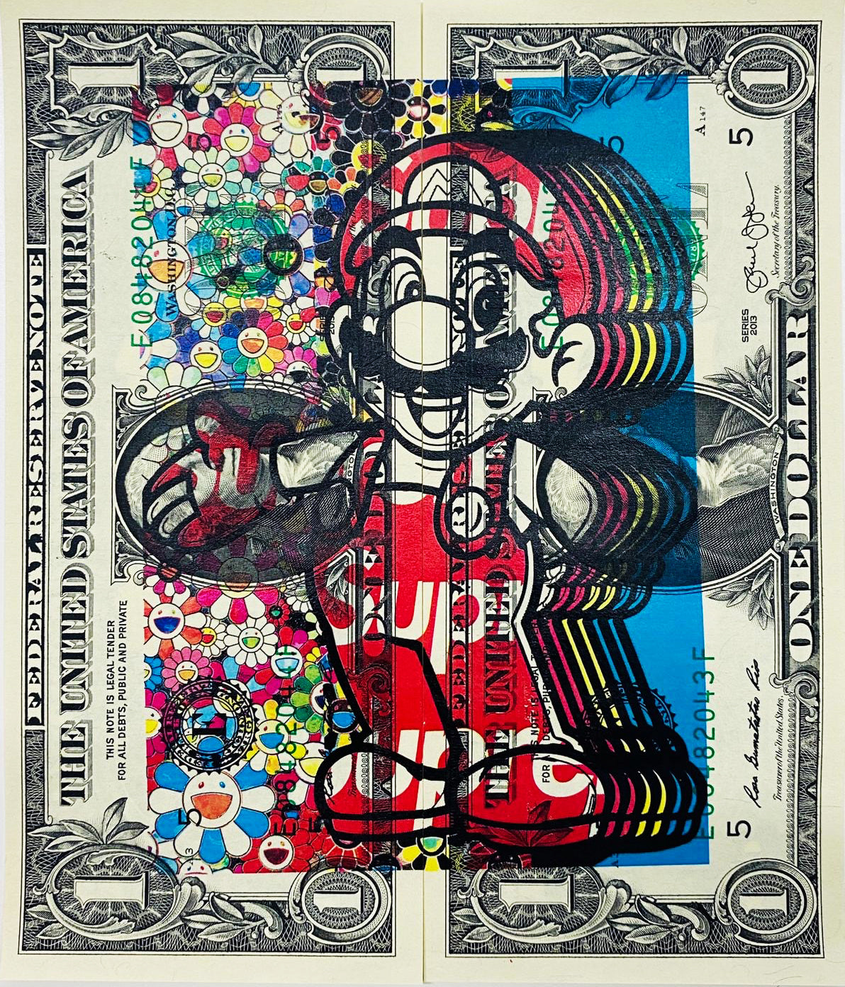 "$1 USD  ""$ Mario Flower"" (2020) Edition of 10"