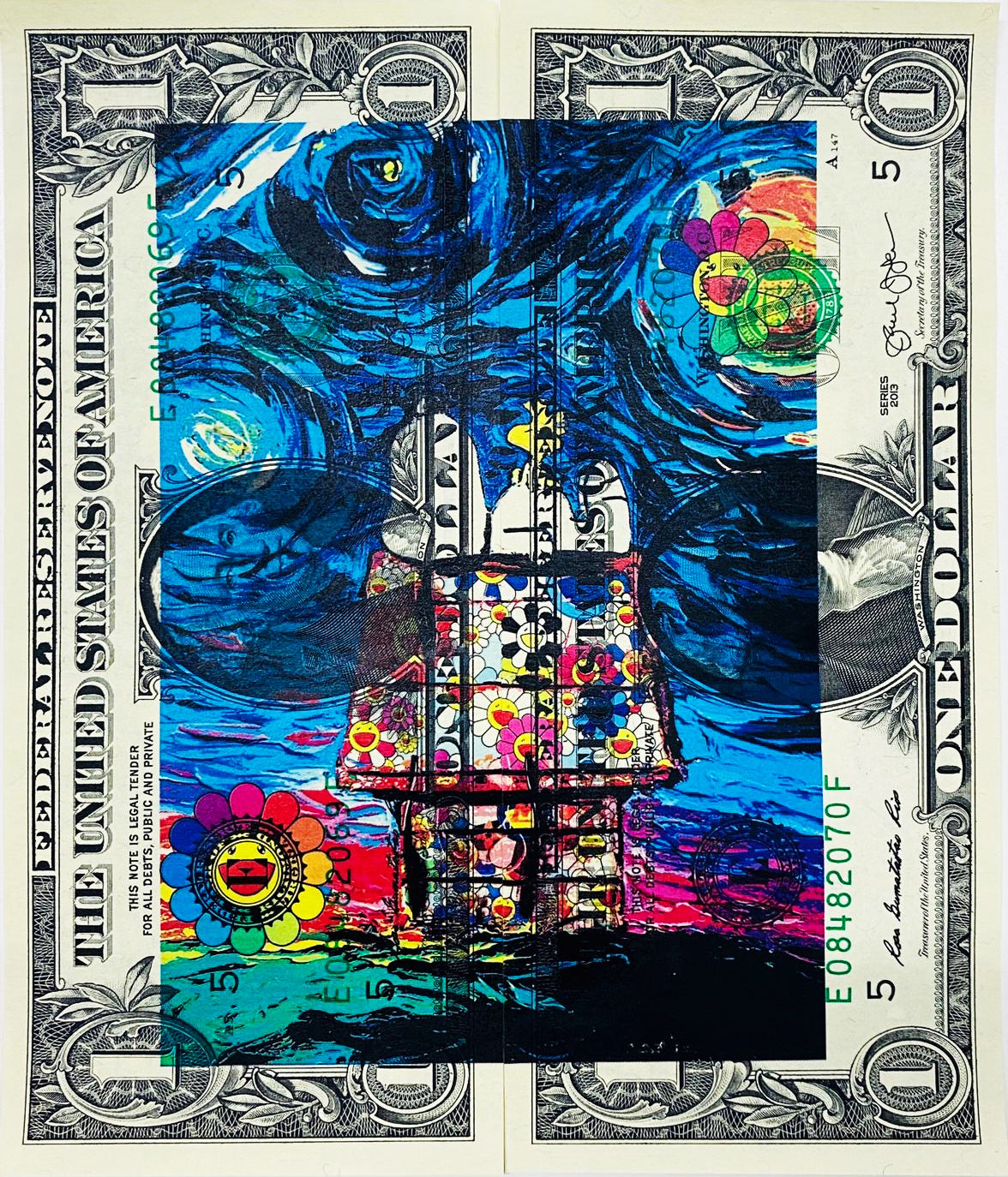 "$1 USD  ""$ Starry Flower House"" (2020) Edition of 10"