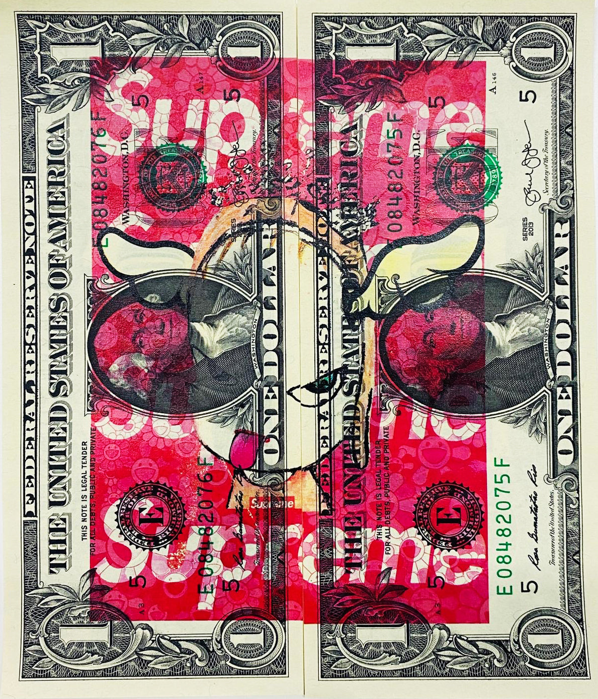 "$1 USD  ""$ Red N Sup"" (2020) Edition of 10"
