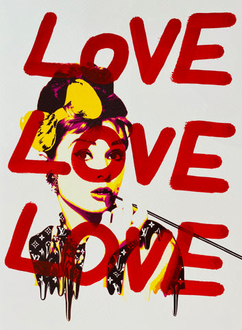 "Audrey YP ""LOVE LOVE LOVE"" (8"" x 12"") (Edition of 1)"