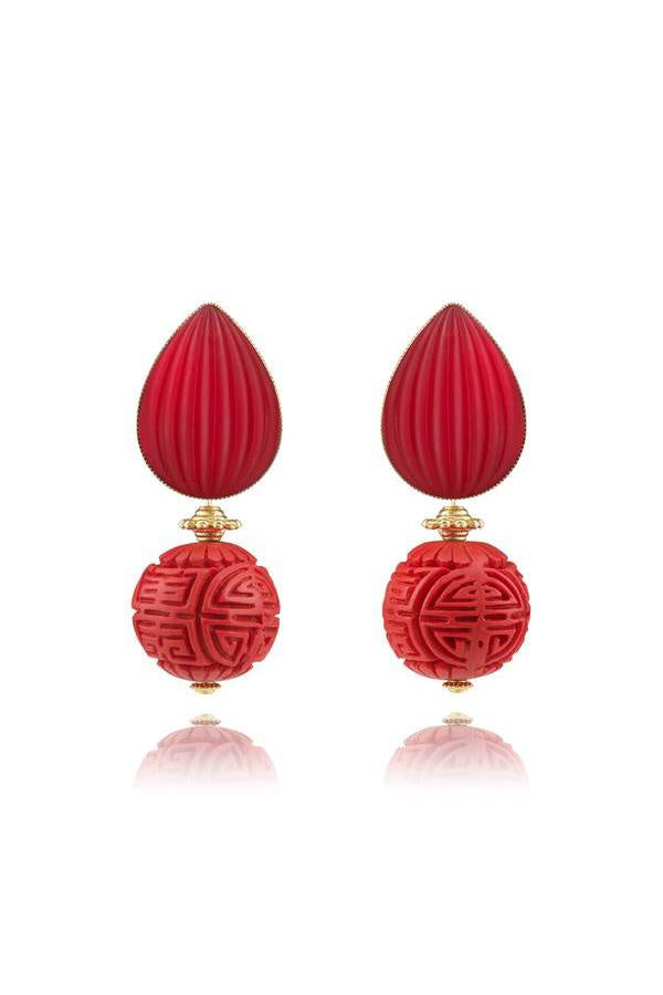 Botero Earrings with Lalique-Style Top