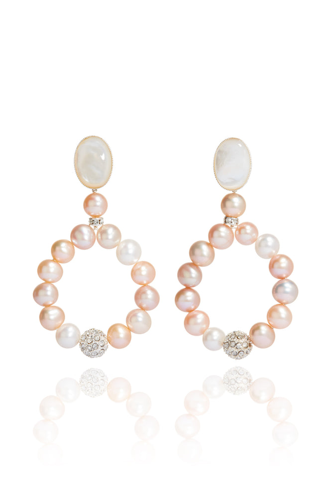 Adeline Pearl Hoop Earrings