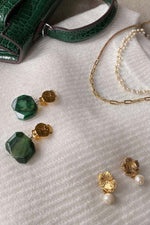 Avery Tumbled Emerald Earrings