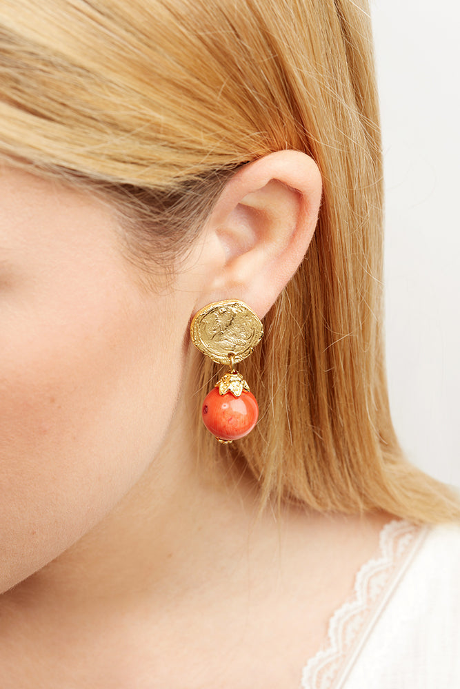 LaurenceCoste_Earrings_Gold_Coral_London