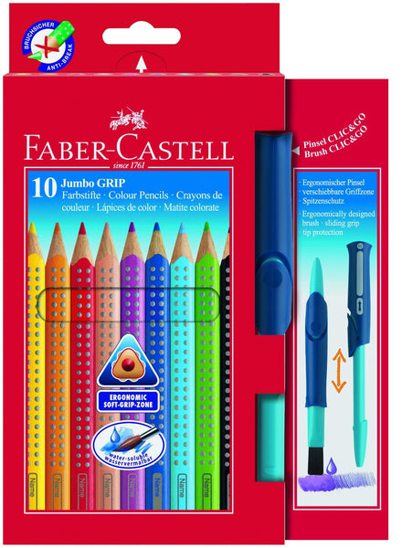 10 Faber-Castell Jumbo Grip Colouring Pencils and Brush