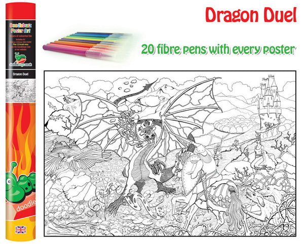 Dragon and Knight Giant Colouring Poster