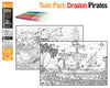 Dragon and Pirate Twin Pack Colouring Poster Art Kit