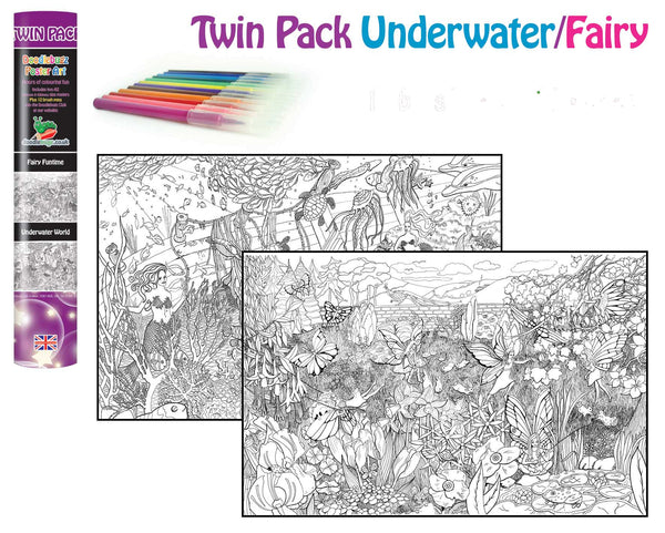 Mermaid and Fairy Twin Colouring Poster Art Kit