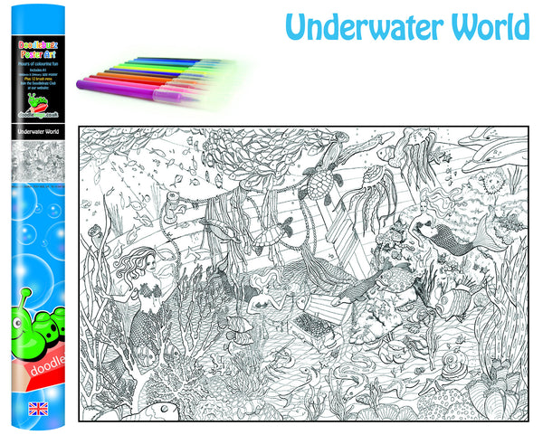 Underwater World Colouring Poster
