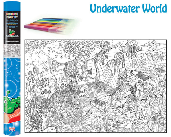 Underwater World Giant Colouring Poster Art Kit with Pens