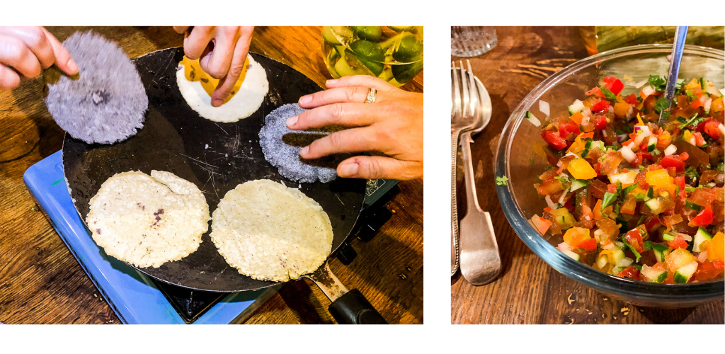 Hands on a hot plate cooking home made corn tortillas (blue and white)