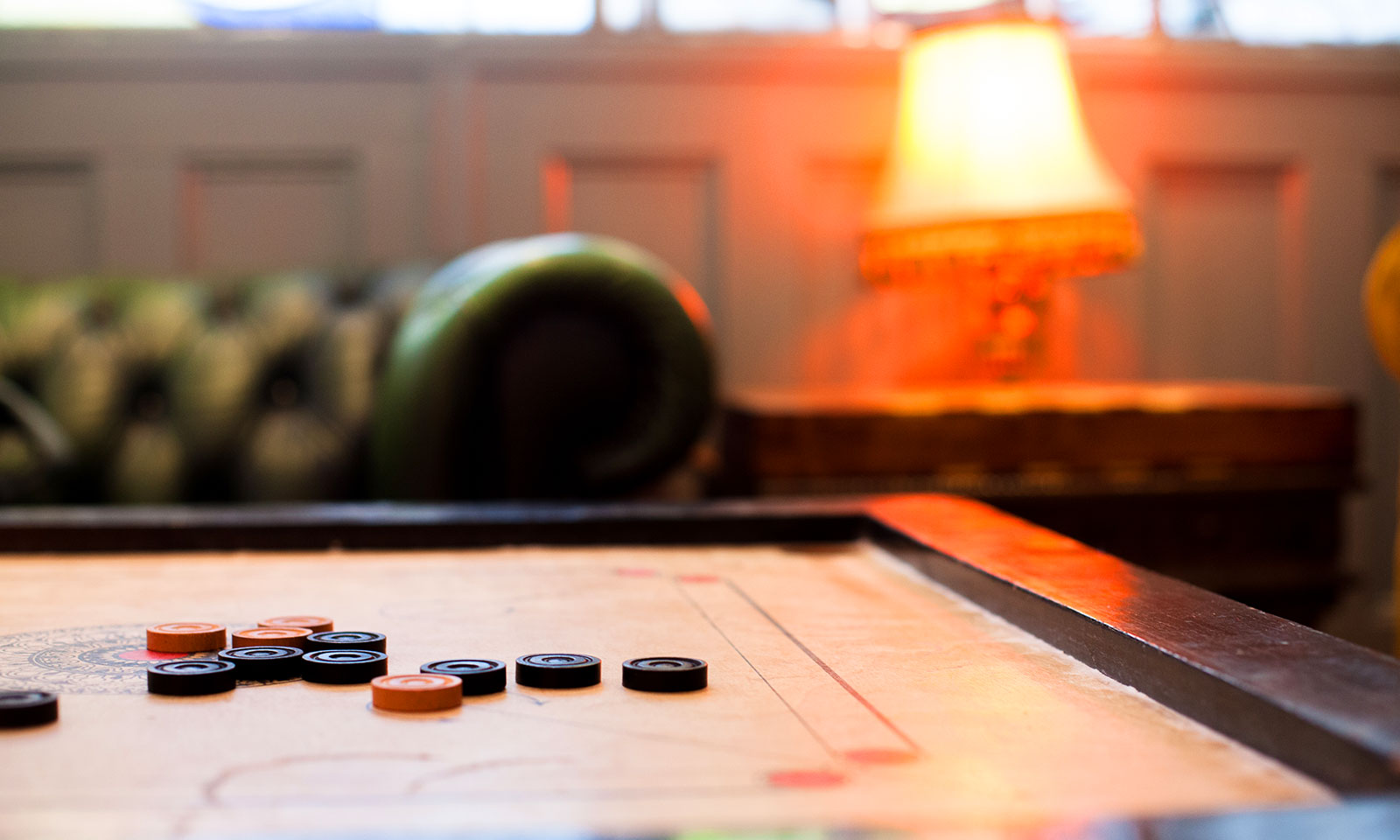 The carrom board in our upstairs lounge.