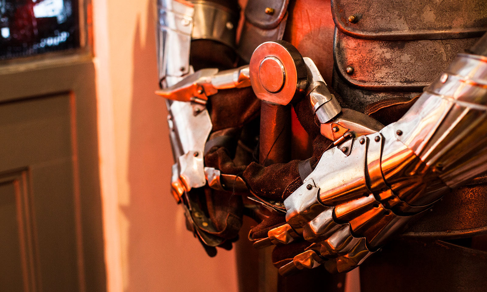 Closeup of the suit of armour in our lounge.