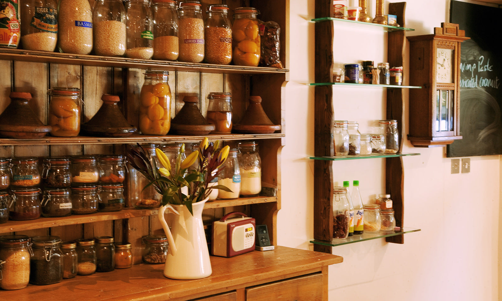 A stocked pantry adds a warm, homey feel to our kitchen venue.