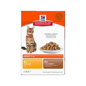 Hills Feline Adult Optimal Care Chicken & Turkey Selection Pouch