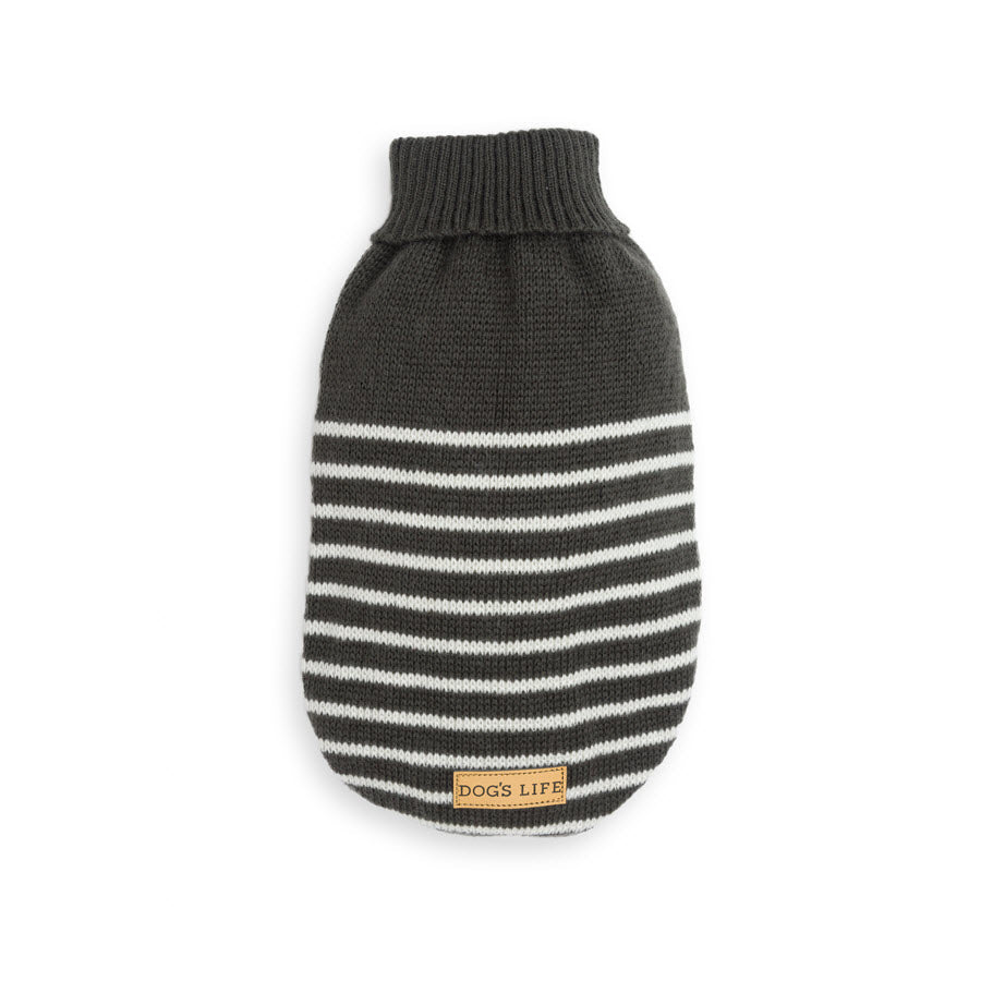 Dog's Life Stripe Knit Polo Neck Sweater Black