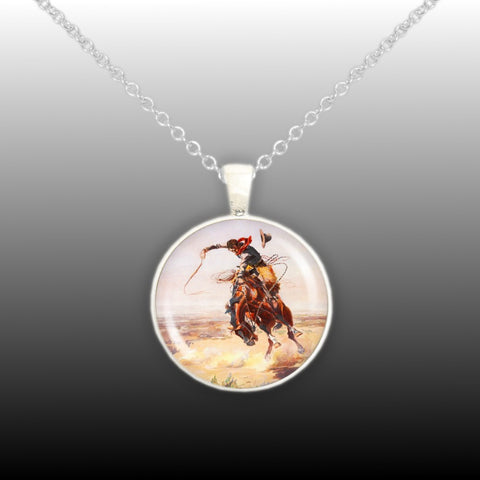 Pendants autumns glory a bad hoss cowboy horse russell western art painting 1 pendant cable chain necklace aloadofball Choice Image