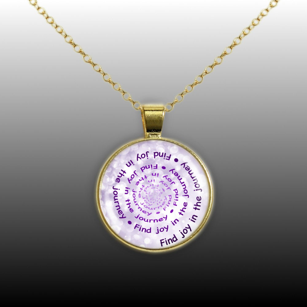 Find Joy In The Journey Quote Swirl Vortex 1 Pendant Necklace In