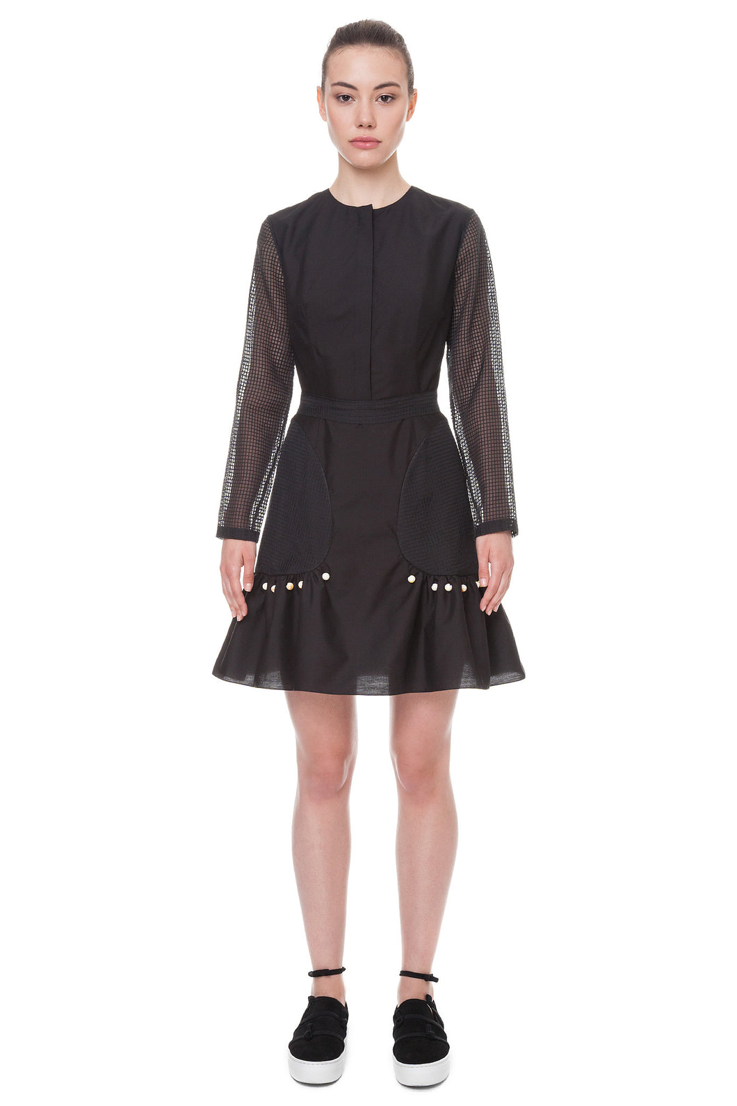 Mini dress with transparent sleeves - Anna K