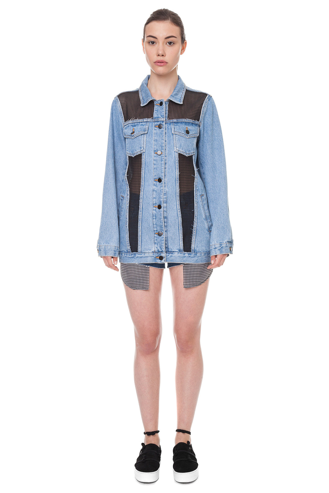 Jeans jacket with black inserts - Anna K