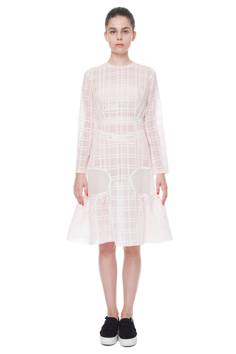Pink transparent bell sleeve dress
