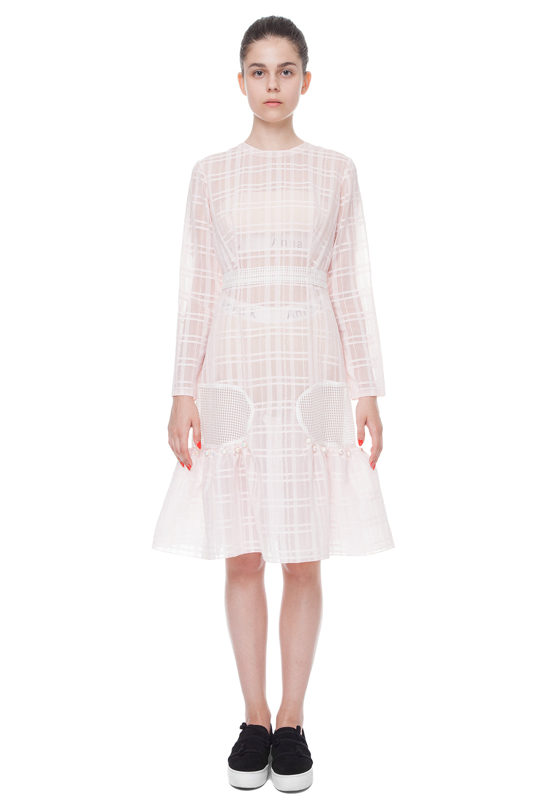 Pink transparent bell sleeve dress - Anna K