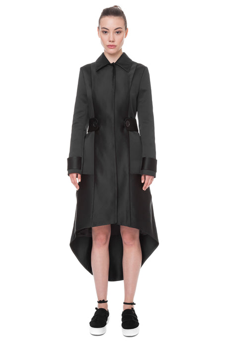 Coat with elongated back