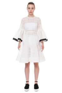 White transparent bell sleeve dress