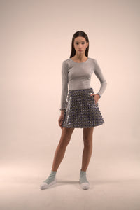 TRAPEZE SKIRT WITH CUTOUTS
