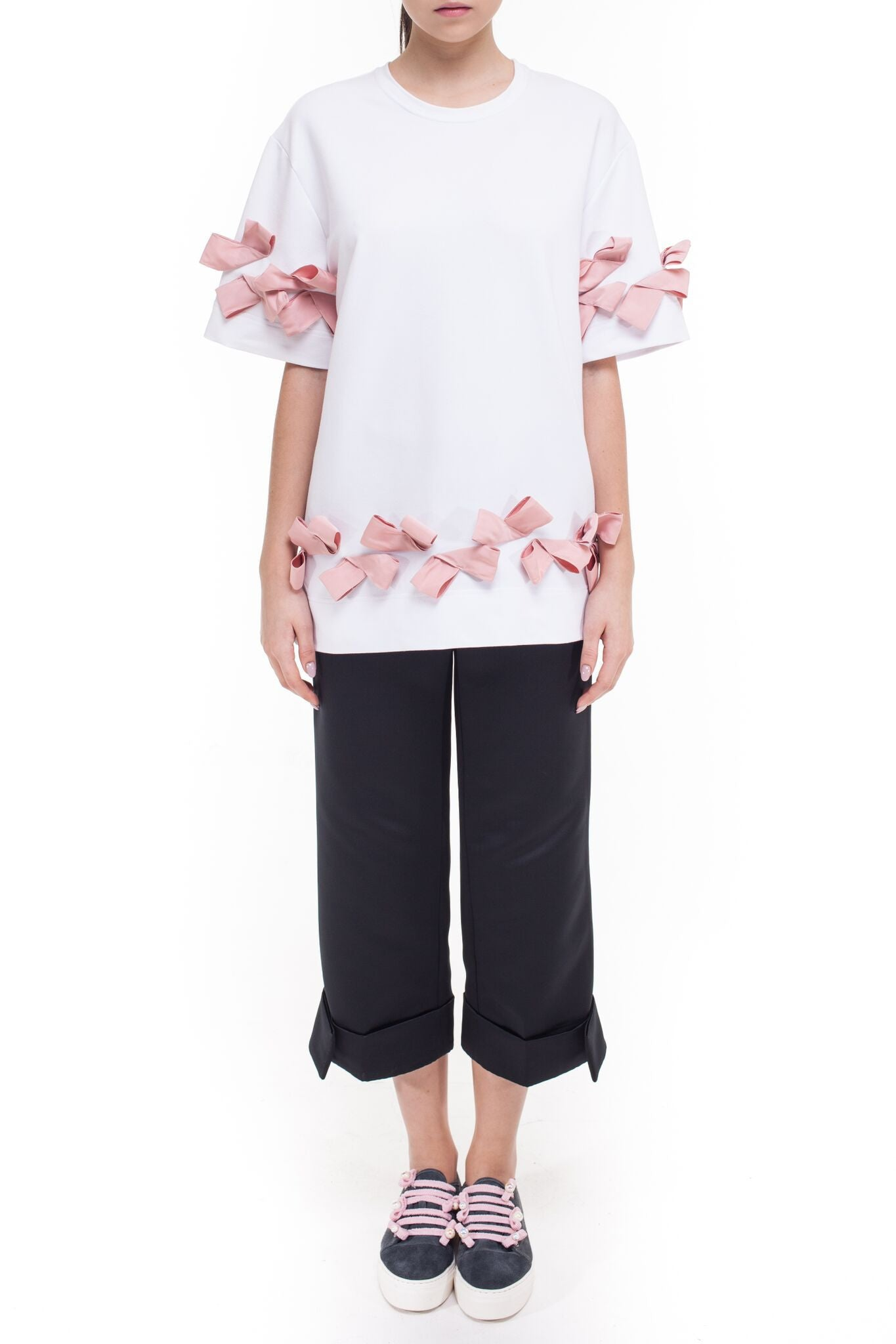 T-shirt with bows on the shoulders and bottom #074/2