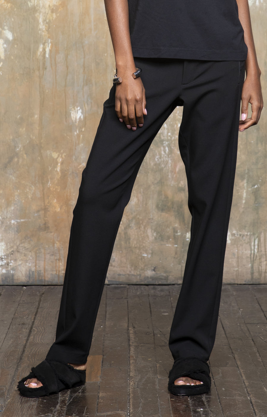 Meditation - Bohemian & Cosmopolitan, Slimming Stretch Trousers in Black