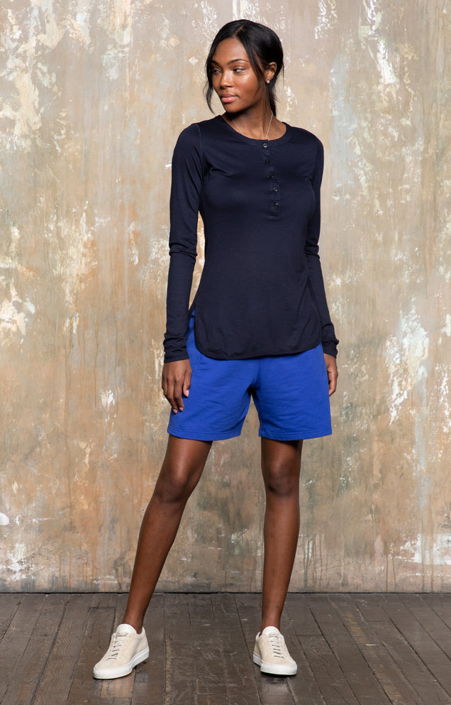 Eloquent - Sensually Soft Silk Knit Henley in Navy
