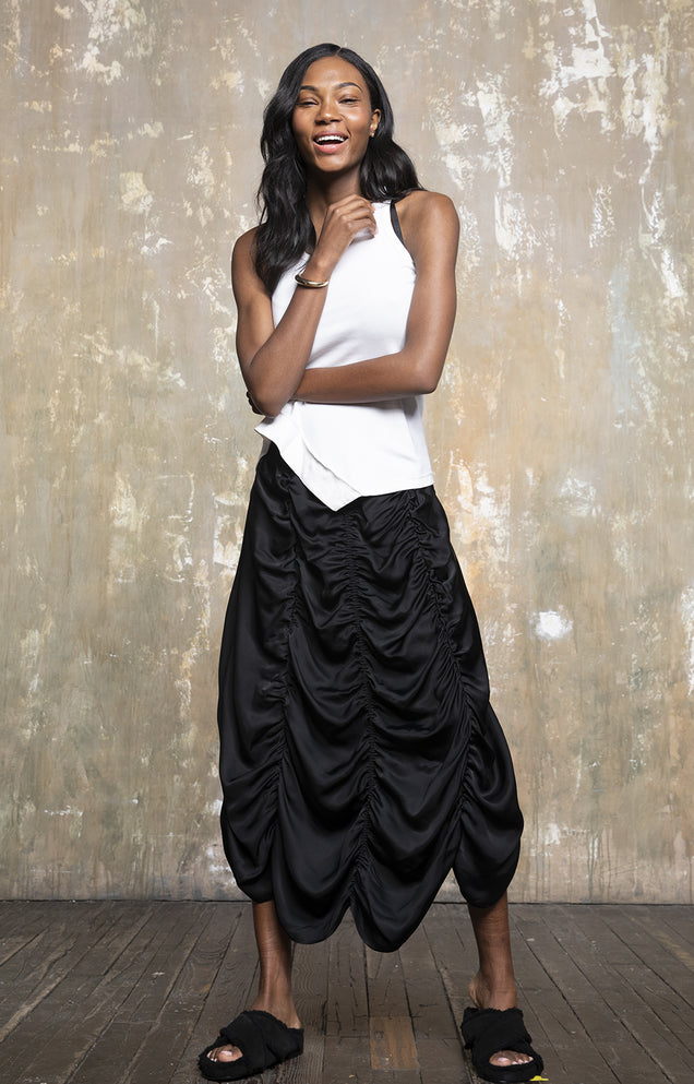 Vitalize - Soulful Elegance, Effortless Ruffle Skirt in Black