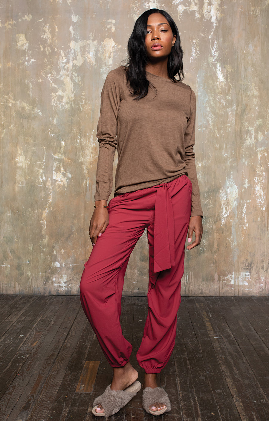 Charm - Sensual Merino Long Sleeve Tee in Coffee
