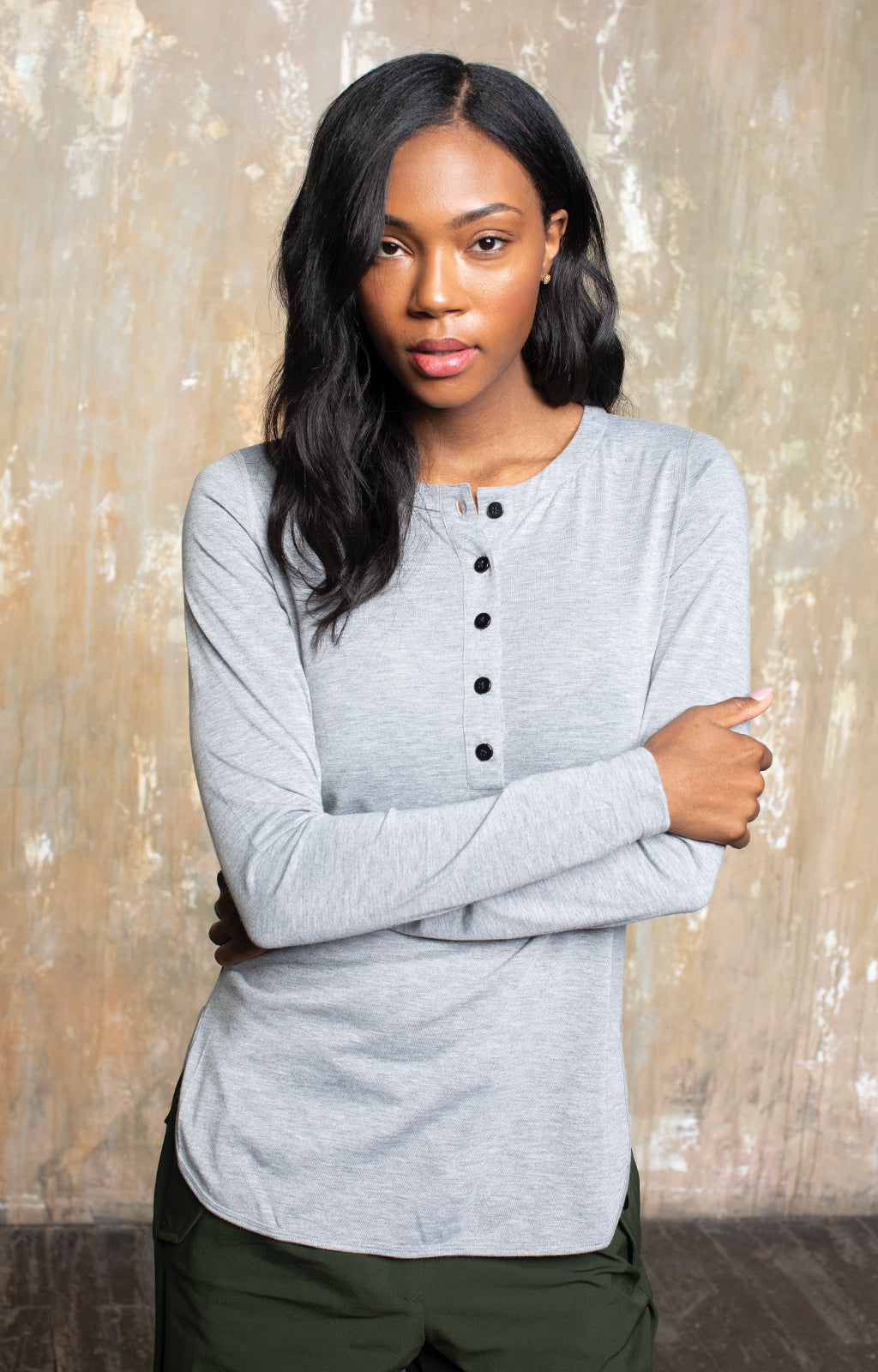 Eloquent - Sensually Soft Knit Henley in Grey Heather