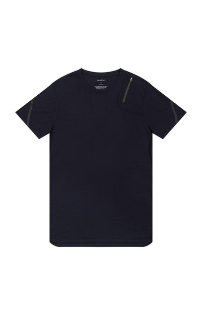 Exceed - Merino Silk Zipper Pocket Short Sleeve in Navy