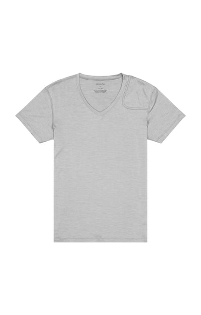 Intention - Merino Silk Zip Pocket V-neck in Neutral Gray