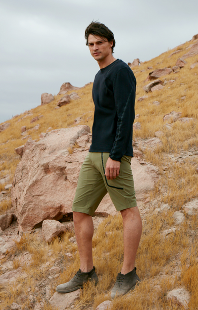 Genius - Two-In-One Zip Pocket Shorts in Wood