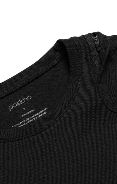 Agility - Shoulder Zip Pocket Pique Short Sleeve in Black