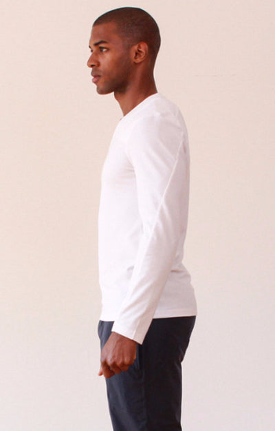 Unbounded - Zip Pocket Pique Long Sleeve in White