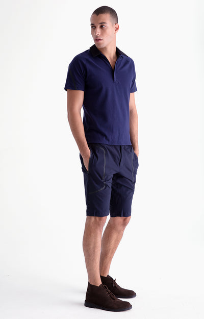 Genius - Two-In-One Zip Pocket Shorts in Navy