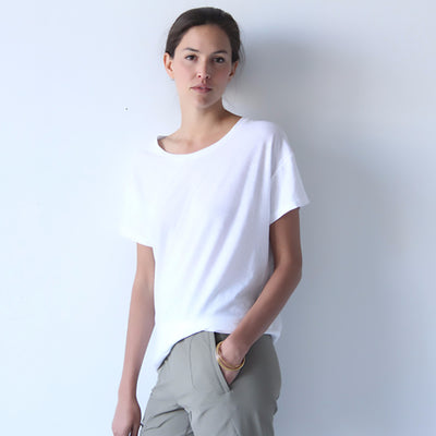 Simple Opulence - Long Slouchy Asymmetric Tee WHITE