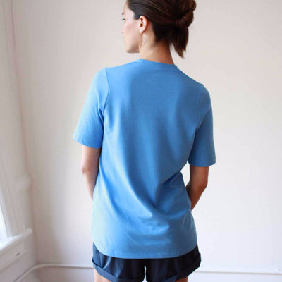 Dignity - Pique Scoop-Neck Tee in Aqua