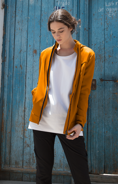 Imagination - Cotton Travel Hoodie in Orange