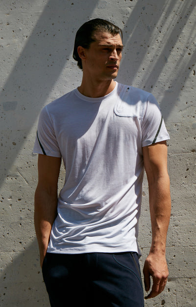 Exceed - Merino Silk Zipper Pocket Short Sleeve in White