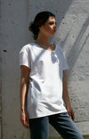 Simple Opulence - Long Slouchy Comfy Asymmetric Tee in Cloud White