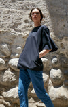 Luminous - Ruffle Sleeve Cotton Tunic in Black